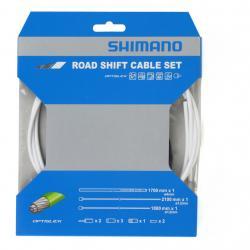 Cables+Gaine SHIMANO dérailleur route Optislik blanc