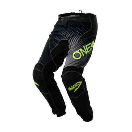 Pantalon ONEAL bmx et vtt Element Racewear noir décor gris et jaune fluo