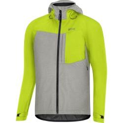 Veste imperméable GORE vtt C5 Trail GoreTex gris clair décor jaune vert fluo