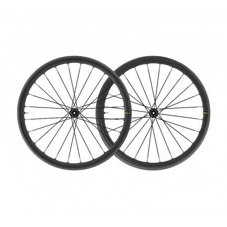 Roues à pneu 700 MAVIC route Ksyrium Elite UST Disc CL ID360 SH 25 Graphite Black noire décor gris