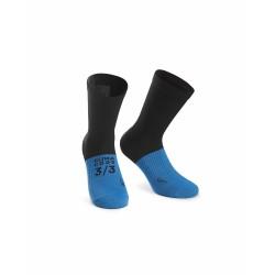 Chaussettes ASSOS hiver Ultraz Winter Socks noir décor bleu