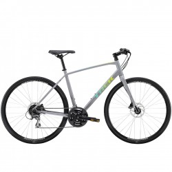 Vélo route fitness alu - TREK 2021 FX 2 Disc - Gris Gravel Décor vert et jaune