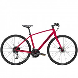 Vélo route fitness femme alu 28p - TREK 2021 FX 3 WSD - Rouge magenta décor noir