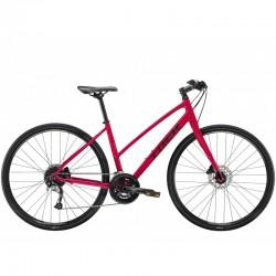 Vélo route fitness femme 700 - TREK 2021 FX 3 WSD Stagger Disc - Rouge Magenta Décor noir