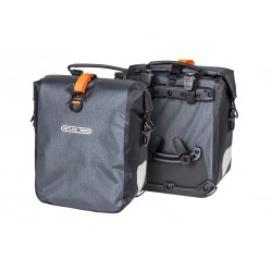 Sacoches avant ou arrières latérales - ORTLIEB Gravel Pack F9981 - Ardoise décor orange