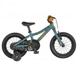 Vélo VTT garçon 2 à 5 ans 14p alu - SCOTT 2021 Roxter 14 - Bleu gris décor dessins orange et noir