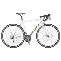 Vélo course alu 700 - SCOTT 2021 Speedster 20 - Blanc décor vert pailleté reflet orange