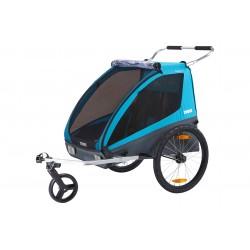 Remorque enfants THULE Coaster XT 2 places noir décor bleu