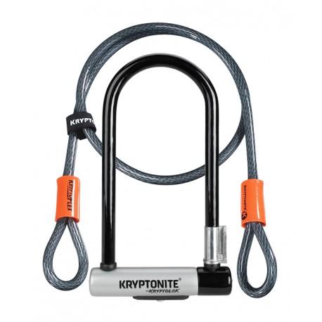 Antivol KRYPTONITE U + cable Kryptolok S2 + Flex à clef gris et noir