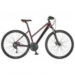 Vélo VTC femme 28p alu - SCOTT 2021 Sub Cross 40 Lady - Rouge bordeaux décor rouge