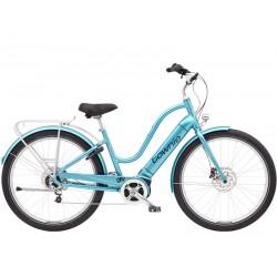 Vélo électrique ville et chemin 27.5p - ELECTRA 2021 Townie Path Go! 5i Step-Thru 500 - Bleu ciel métallisé Décor noir