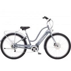 Vélo électrique ville et chemin 27.5p - ELECTRA 2021 Townie Path Go! 5i Step-Thru 500 - Gris argent Décor blanc
