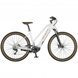 Vélo électrique VTC 29p alu - SCOTT 2021 Sub Cross eRide 10 Lady 625 - Blanc Décor or rose
