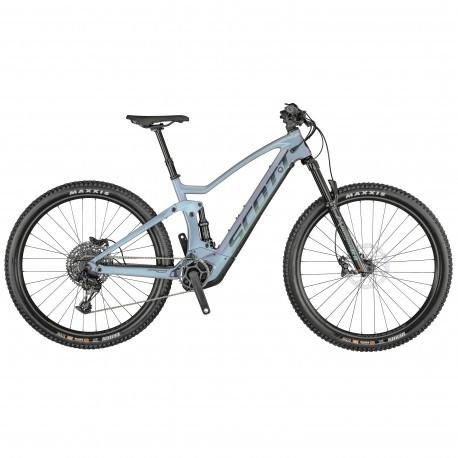 Vélo électrique VTT 29p carbone - SCOTT 2021 Strike eRide 900 625 - Bleu argenté reflet violet Décor noir