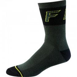 """Chaussettes FOX hiver Wool Sock 8"""" vert foncé décor noir et jaune fluo"""