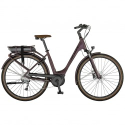 Vélo électrique urbain 28p SCOTT 2021 alu unisexe Sub Active eRide 30 USX 400 marron violacé décor noir