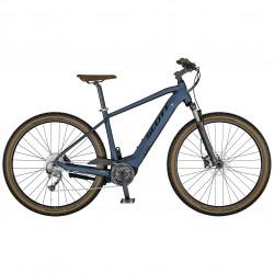 Vélo électrique VTC 29p SCOTT 2021 alu Sub Cross eRide 30 Men 400 bleu gris décor bleu nuit et gris clair