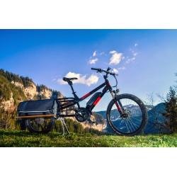Vélo VTT cargo électrique 26p alu - YUBA 2021 Spicy Curry All Terrain 500 - Noir décor rouge orangé