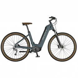 Vélo électrique VTC unisexe 29p alu - SCOTT 2021 Sub Cross eRide 30 USX 400 - Bleu gris Décor gris clair