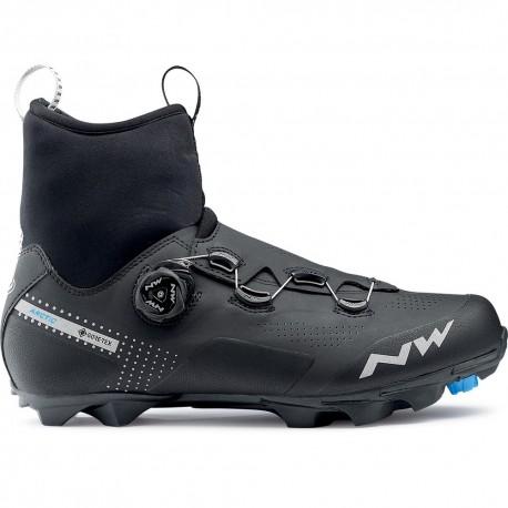 Chaussures vtt hiver - NORTHWAVE Celsius XC Artic GoreTex - noir décor gris argent : membrane imperméable et respirante -