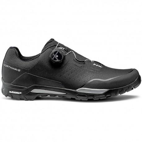 Chaussures vtt - NORTHWAVE X-Trail Plus - noir décor gris - semelle rigide avec gomme Michelin pour l'accroche et la