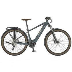 Vélo électrique VTC 29p alu SCOTT 2021 Axis eRIDE Evo 625 bleu gris décor blanc