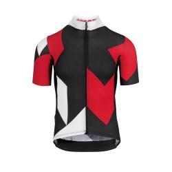 Maillot manches courtes - ASSOS Fastlane Rock - rouge décor noir et blanc