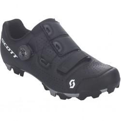 Chaussures vtt - SCOTT Mtb Team Boa - noir mat décor blanc : semelle Nylon et fibre de verre indice 8 - crampons gomme -