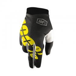 Gants longs 100% vtt iTrack noir décor jaune fluo