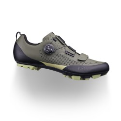 Chaussures vtt et gravel - FIZIK X5 Terra - vert forêt - semelles rigides en composite avec crampons en gomme tendre -