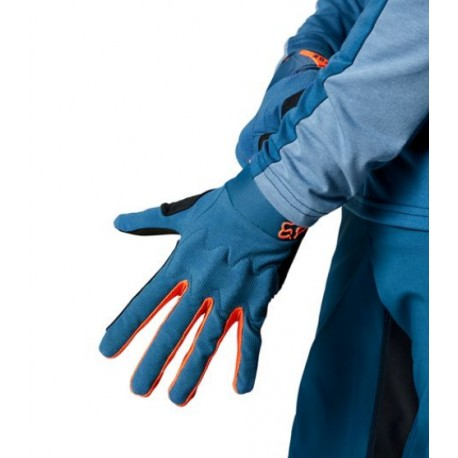 Gants longs vtt - FOX Defend D3O - Bleu pétrole décor fluo