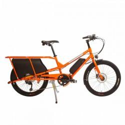 Vélo ville cargo électrique 24p acier - Yuba 2021 Kombi E5 - Orange décor argent : 9v