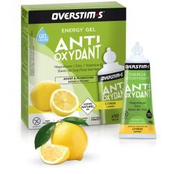 Gel énergétique pendant l'effort - OVERSTIM's Antioxydant liquide sans gluten - Citron - Boîte 10 tubes.