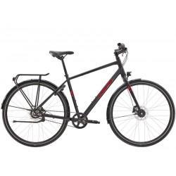 Vélo ville homme - TREK 2022 District 3 Equipped - Noir Matte Black décor rouge