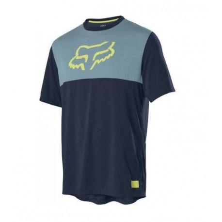 Maillot manches courtes FOX vtt Ranger bleu nuit bleu ciel décor jaune