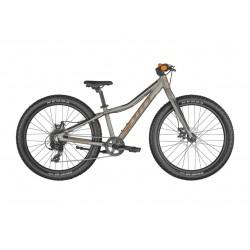 Vélo VTT enfant 8 à 11 ans alu 24p - SCOTT 2022 Roxter 24 Raw Alloy - Gris décor orange : fourche rigide