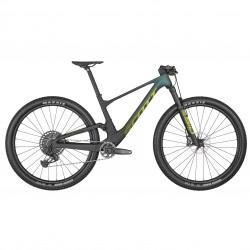 Vélo VTT 29 carbone - SCOTT 2022 Spark RC Team Issue AXS - Noir et vert reflets violets décor jaune