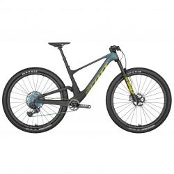 Vélo VTT 29p carbone - SCOTT 2022 Spark RC World Cup Evo AXS - Noir et vert reflets violets décor jaune