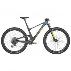 Vélo VTT 29p carbone - SCOTT 2022 Spark RC World Cup AXS - Noir et vert reflets violets décor jaune