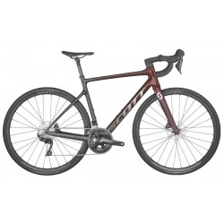 Vélo course carbone - SCOTT 2022 Addict 30 Red - Noir et bordeaux décor argent