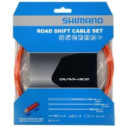 Cables+Gaine SHIMANO dérailleur route Dura-ace Orange polymère