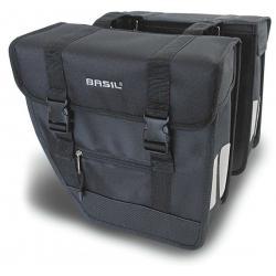 Sacoche BASIL arrière double cavalière Tour 600 rigide noir et argent sur porte-bagage