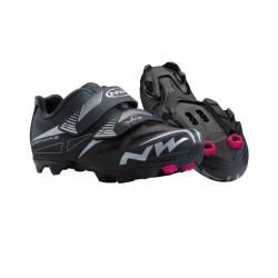 Chaussures NORTHWAVE femme vtt Elisir Evo noir décor argent et rose