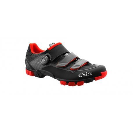 Chaussures FIZIK vtt M6 Boa noir mat décor rouge et gris