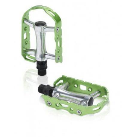 Pédales XLC alu route vtc vtt Ultralight PD-M15 argent contour citron vert