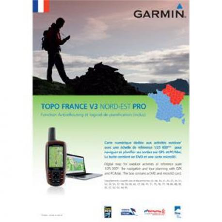 Cartographie GARMIN vtt Topo V3 Pro France Nord-Est au 1/25.000 pour GPS Garmin