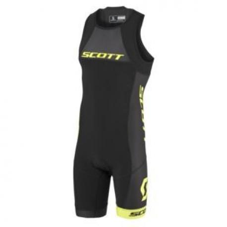 Combinaison triathlon SCOTT Suit Plasma noir décor jaune fluo
