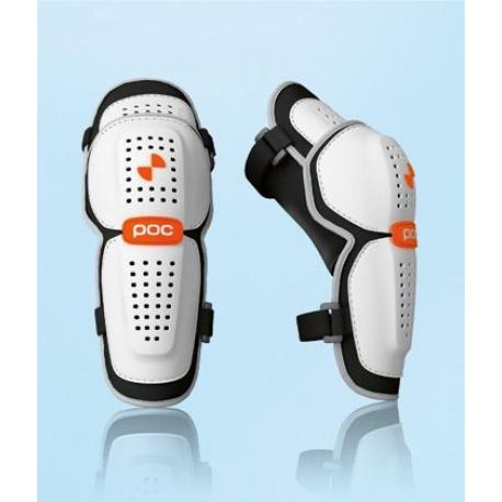 Coudières POC vtt Bone blanc décor noir - maintien par filet + 2 élastiques - coques rigides ventilées et articulées -