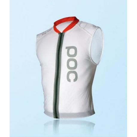 Veste protection sans manches POC adulte Spine VPD blanc décor orange - dorsale L - XL souple VPD bi-densité + ceinture ventrale