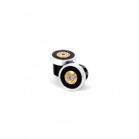 Bouchons de cintre BERTHOUD alu cuir Course CNC argent décor noir
